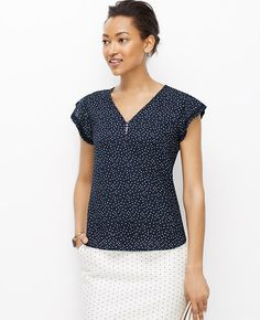 Image of Dotted Flutter Sleeve Top