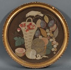 Embroidered Appliqued Wool Felt Still Life Picture with Fruit and Bird | Sale Number 2669M, Lot Number 557 | Skinner Auctioneers