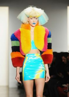 jeremy scott, 2012, colorful, futuristic look, future fashion, future girl, futuristic girl, alternative girl, neon, neon dress by FuturisticNews.com