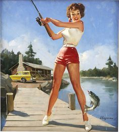 Elvgren fishing pin-up. I especially love the station wagon and cabin in the background.