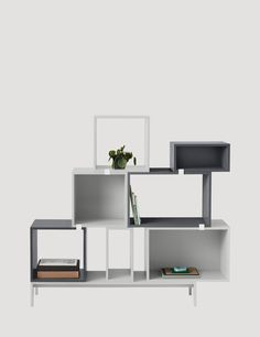 The STACKED system provides a storage solution with endless possibilities. With the use of small clips, the modules can be rearranged to create all manner of shelving set ups, room dividers or side tables. The design can be easily changed by playing around with the space between the modules or mounting them directly onto the wall.
