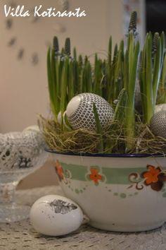 Pääsiäiskoristeet Järvenpään Kukkatalosta. Lasikulho Iittalan Kastehelmi -sarjaa. / Decorations for Easter from Järvenpään Kukkatalo. Iittala's Kastehelmi glass item.