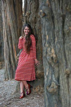 Modest red striped sweater dress. Modest apparel, bridesmaid dresses, ruffles, lace. www.daintyjewells.com