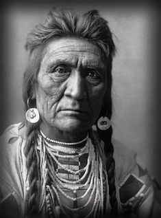 From 1908, a portrait of Wolf, a warrior of the Crow Nation.   Based upon an archived Edward S. Curtis photograph.