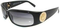 Versace Shiny Black Gold and Gray Womens Sunglasses - Cant Go Wrong!!
