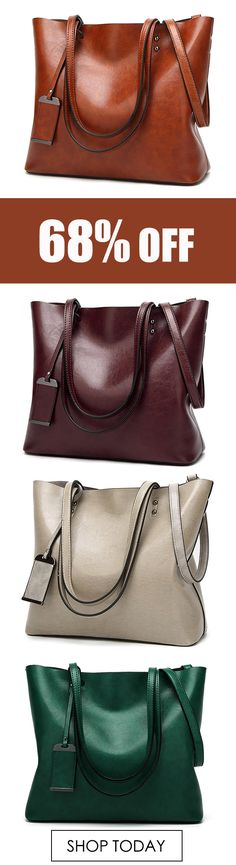Women Oil Leather Tote Handbags Vintage Shoulder Bags Capacity Shopping Crossbody Bags. #fashion #leather #bags