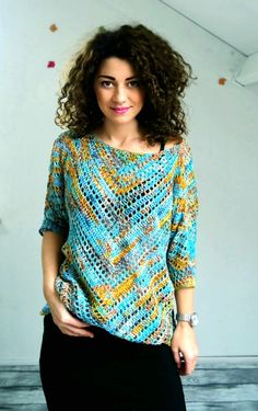 """Crochet Blouse """"Starry Night"""" Blouse - """"Starry Night"""" Blouse ByKaterina - ByKaterina Crochet patterns Perfect for beginners. if you made a triangle scarf before you have to try this. Blouse Au Crochet, T-shirt Au Crochet, Pull Crochet, Mode Crochet, Crochet Jacket, Crochet Woman, Crochet Blouse, Crochet Stitches, Crochet Patterns"""