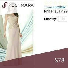 Gorgeous champagne color gown Beautiful dress with lace bodice, NWOT, never worn! Gorgeous detail, very well made dress, champagne color Dresses One Shoulder