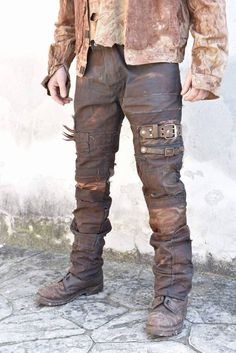 Wrecked Custom Post Apocalyptic Wasteland Hand Painted Custom Spikes Detail OOAK Pants