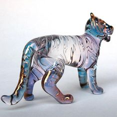 Tiger Figurine Hand Blown Glass Gold Crystal Sculpture