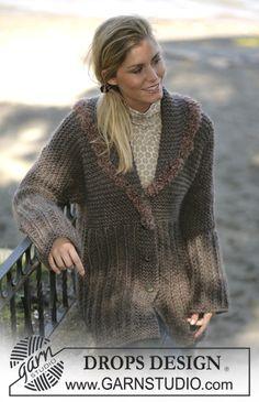 """DROPS Cardigan in """"Eskimo"""" with a crochet edge in """"Puddel"""" ~ DROPS Design"""