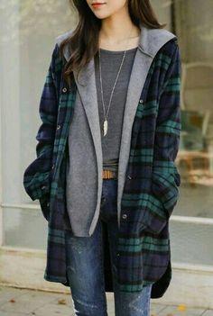 Hooded knit in plaid jacket korean fashion Fashion Moda, Trendy Fashion, Winter Fashion, Sporty Fashion, Ski Fashion, Korean Women Fashion, Fashion Photo, Womens Fashion, Style Fashion