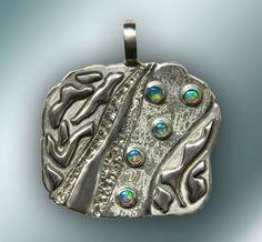 "Silber Anhänger ""Opal Augen"" von Silver threads and golden needles auf DaWanda.com"