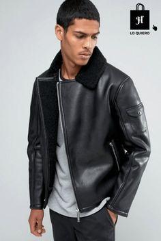cazadora para hombre modelo asos biker cuero negro #Biker #Moda #ModaHombre #Hombre #Tendencias
