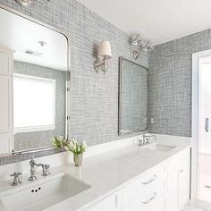 White Bathroom With Gray Textured Wallpaper
