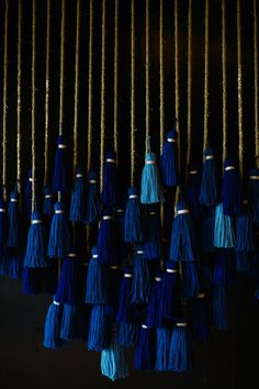 DIY suspended tassel backdrop by Studio Cultivate (photo by Anna Naphtali) Diy Tassel, Tassels, Tassles Diy, Wedding Ceremony Backdrop, Wedding Reception, Midnight Blue, Diy Wall, Wedding Decorations, Creations