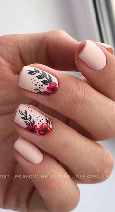 Cute Summer Nails, Spring Nails, Summer Nail Art, Cute Summer Nail Designs, Nail Designs Spring, Floral Nail Art, Nail Designs Floral, Neutral Nail Art, Simple Nail Art Designs