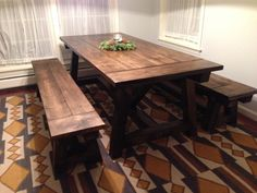 Rustic Farmhouse table and benches by TheITWoodworker on Etsy
