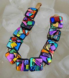 CRAZY COLOURS, Dichroic Glass Bracelet - by dichroiccreations