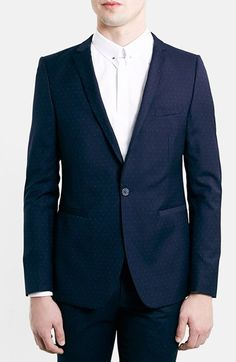 Topman+Skinny+Fit+Navy+Pin+Dot+Suit+Jacket+available+at+#Nordstrom