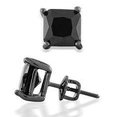 Black Stud Earrings Square Onyx CZ Black Rhodium Screw Back Post 0.7ct 1.25ct 2ct 3ct 4ct
