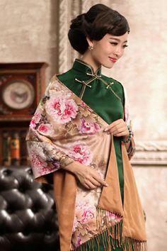 Party Silk Cheongsam Ankle Length Simplistic Elegance Green #Cheongsam