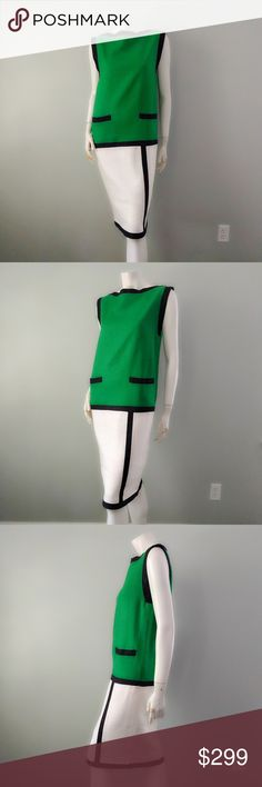 """VTG Oscar de la Renta Mondrian Colorblock Dress Iconic colorblock Mondrian dress by Oscar de la Renta. Boatneck, straight fit, beautiful linen finish in kelly green, white, and black. True vintage item from the 1980s.  In near-mint vintage condition (9.999/10). No stains or signs of wear. Comes from a smoke-free home  BRAND: Miss O by Oscar de la Renta SIZE: Vintage 8. FABRIC: 100% linen. BUST: 36"""". WAIST: 36"""". HIP: 36"""". LENGTH: 40.25"""". Oscar de la Renta Dresses Midi"""