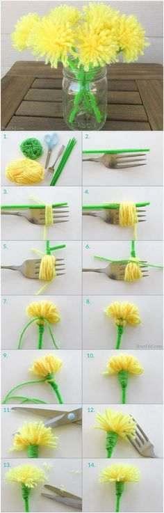 Simple Crafting Ideas for Kids: DIY Dandelion Tassel Bouquet. Simple Crafting Ideas for Kids: DIY Dandelion Tassel Bouquet. Easy Crafts For Kids, Summer Crafts, Diy For Kids, Crafts To Make, Fun Crafts, Arts And Crafts, Craft Activities, Preschool Crafts, Diy Y Manualidades