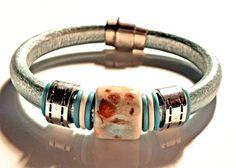 Leather Bracelet, Metallic Sea Foam Regaliz leather PICK YOUr SIZe  | egrobeck - Jewelry on ArtFire