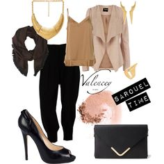 """Accessorize your sarouel"" by valencey on Polyvore  #Trendy outfit with a #black #sarouel paired with #highheels, #clutch and a lot of #goldjewelry"