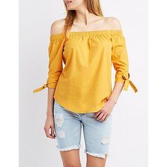 Yellow Off-The-Shoulder Tie Sleeve Top - Size L
