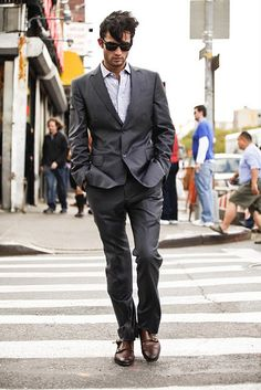 Grey suit and brown shoes-So elegant