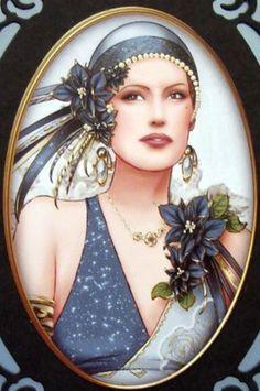 Emma - Art Deco at its best! Vintage Prints, Vintage Art, Vintage Ladies, Art Nouveau, Art Deco Cards, Afrique Art, Art Deco Illustration, Illustrations, Images Vintage
