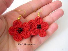 Crochet Red Flowers Earrings