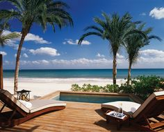 Beautiful view of the Mexican Caribbean from a Beachfront Studio Suite at Rosewood Mayakoba.