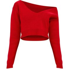 Red Off The Shoulder Crop Knitted Jumper (€21) ❤ liked on Polyvore featuring tops, sweaters, red top, red cropped sweater, off shoulder sweater, off the shoulder sweater and red off shoulder sweater