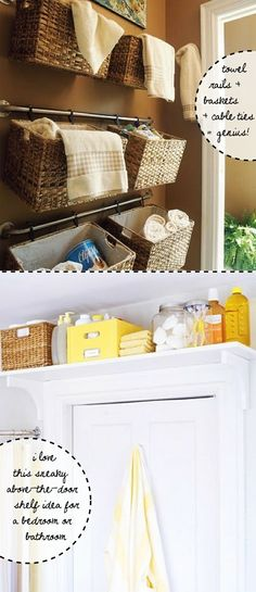 Love the baskets on a curtain rod. A shelf above the door for occasionally used items... would not have thought of it.