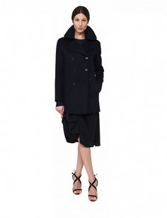 """Akris DOUBLE BREASTED CABAN JACKET  Style Name """"MACY"""" Fall 2017 $4990 Color Midnight 100% Cashmere  100% Silk Lining"""