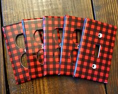 Lumberjack Light Switch And Outlet Covers   Woodland Nursery - Set of 4 - Lumber Jack - Red Plaid - Lumberjack Baby - Home Decor - Kids Room