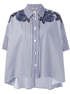 Shop online Antonio Marras striped short-sleeve shirt today with fast global shipping and free returns. Antonio Marras, Casual Tops, Casual Chic, Basic Wear, Big Size Dress, Tailored Shirts, Online Fashion Boutique, Blouse Styles, Striped Shorts