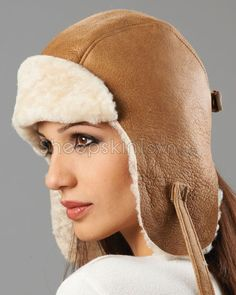 424a11ef5155f1 Womens Vintage Shearling Sheepskin Leather Pilot Hat - Tan Acorn, Winter  Hats, Pilot,