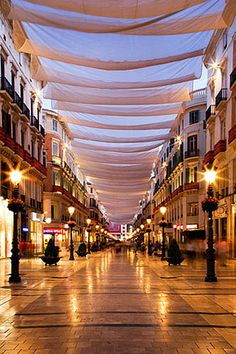 Strolling by exclusive shops under a canopy . Beautiful Places To Visit, Wonderful Places, Places Around The World, Travel Around The World, Santa Cruz Bolivia, Places To Travel, Places To Go, Malaga City, Places In Spain