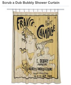 French Poster Shower Curtain
