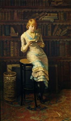 Mujer joven en una biblioteca (1883)  John Henry Henshall (Inglaterra 1856–1928)