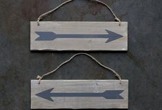 Double Sided Wooden Arrow Sign With Jute Hanger, Set of 2 - From Antiquefarmhouse.com - http://www.antiquefarmhouse.com/current-sale-events/the-attic16/double-sided-wooden-arrow-sign.html