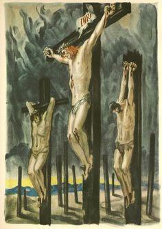 The Crucifixion. Artist: Albert Decaris (1901-1988). Lithograph. From Jesus en son temps by Daniel Rops (Editions des Deux-Rives, 1953)
