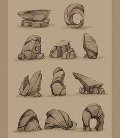 Art Drawing Tips Digital Painting Tutorials, Digital Art Tutorial, Art Tutorials, Art Sketches, Art Drawings, Concept Art Landscape, Drawing Rocks, Concept Art Tutorial, Environment Concept Art