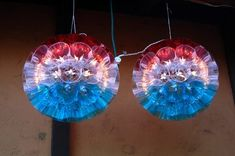 Carl Boro's gorgeous red, white and blue balls. Made with Chinet colored hard cups and silicon caulk epoxy. Christmas Balls, Christmas Diy, Christmas Decorations, Plastic Cup Crafts, Flamingo Shower Curtain, Christmas Countdown Calendar, Cup Art, Ball Lights, New Crafts