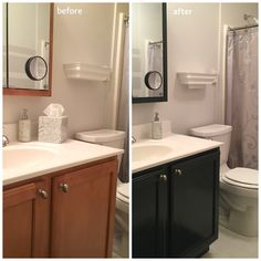 Painting Bathroom Cabinets In An Afternoon, I Updated The Color Of My Mom's Bathroom Vanity Painting Bathroom Cabinets, White Bathroom Cabinets, Small Bathroom Vanities, Paint Bathroom, Paint Vanity, Bathroom Ideas, Kitchen Paint, Bathroom Paintings, Bathroom Tray