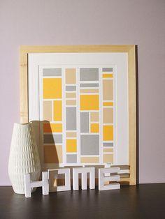 handmade not a print original modern patterns spring home decor artwork rectangle geometric collage mid century mosaic vibrant orange, via Etsy.
